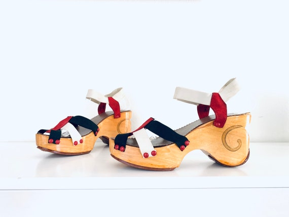40s Platforms Clog Sandals Wood Heels Ankle Straps