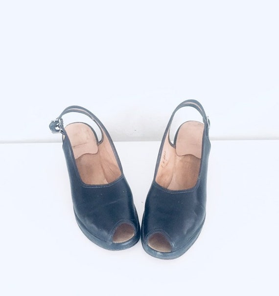 40s Shoes Blue Sandals Leather Slings Chunky Heel… - image 4