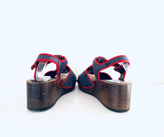 70s Platform Clog Sandals Denim Strawberries by P… - image 9