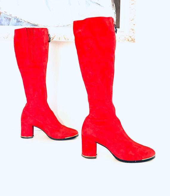 60s Red Suede Boots Leather Knee High Boots Size 5