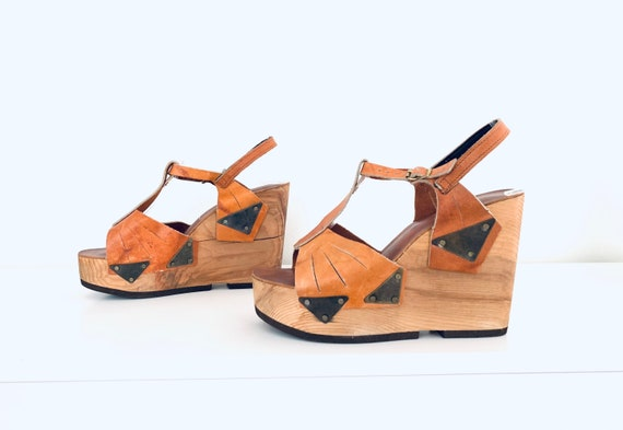 70s Platforms Clog Sandals Leather T-Strap Sandals