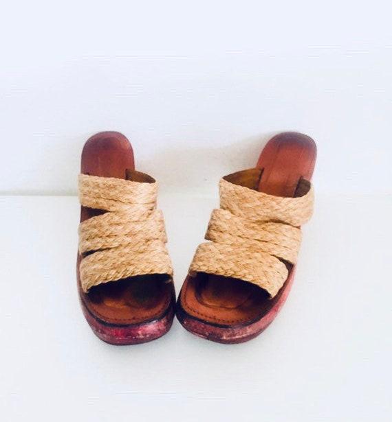 70s Platform Clogs Macrame Sandals Jute Boho 6 36