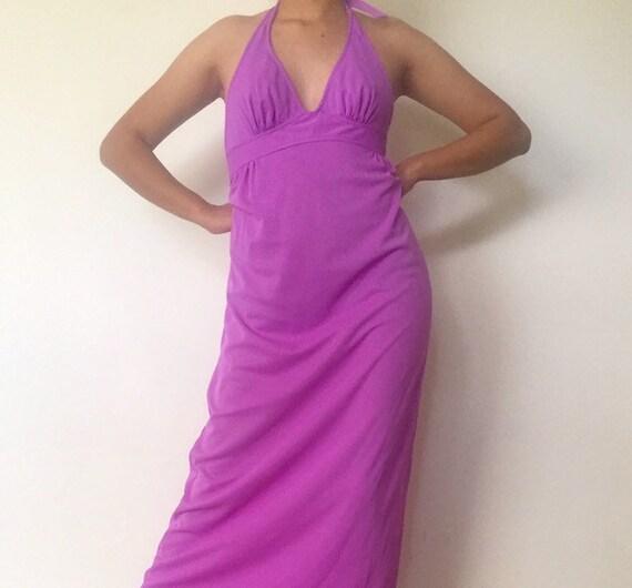 60s Maxi Dress Halter Top Purple Day Glow Nylon Dr