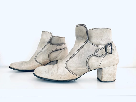 60s Ankle Boots Leather Chunky Heel Boots made in