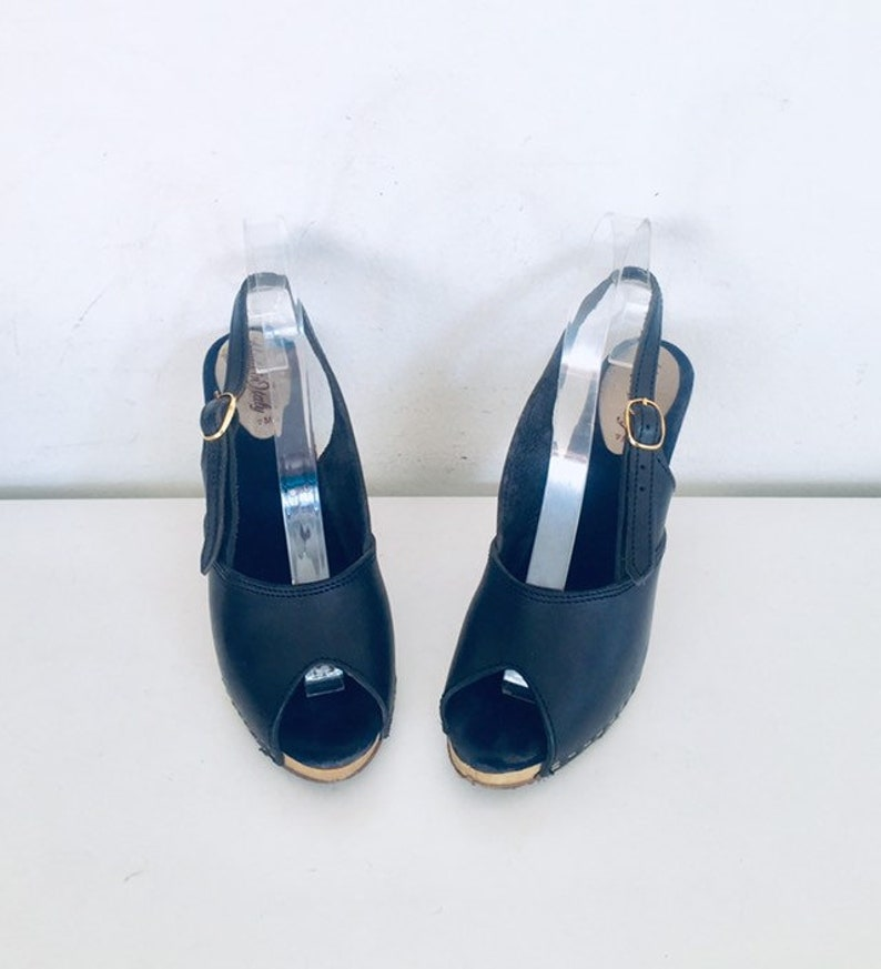70s Sling Back Heels Size 7 37 made in Italy