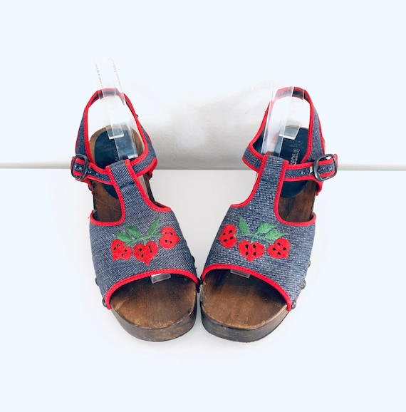 70s Platform Clog Sandals Denim Strawberries by P… - image 4