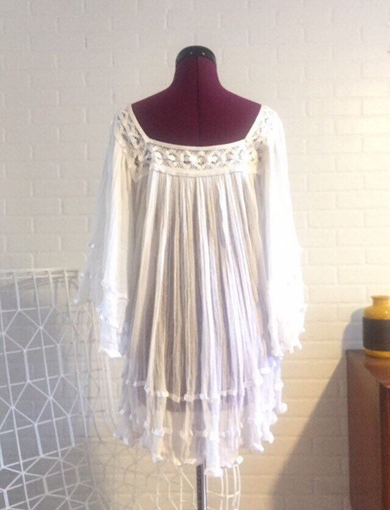 70s Gauze Mini Dress Calico Dress Lace Trim S M