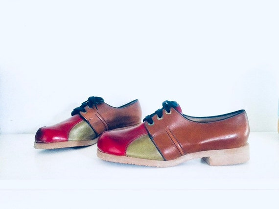 60s Colorblock Shoes Chunky Heel Size 9.5 9 1/2 40