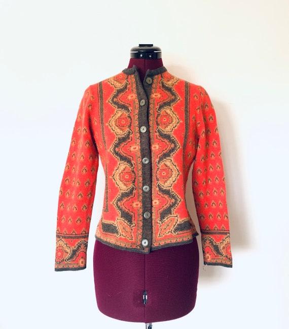 60s Cardigan Sweater Jacket Orange by Catalina siz