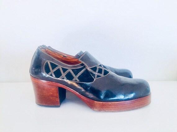 70s Platform Shoes Black Patent Leather