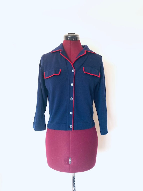 50s Cardigan Sweater Blue Red made in Italy by I M
