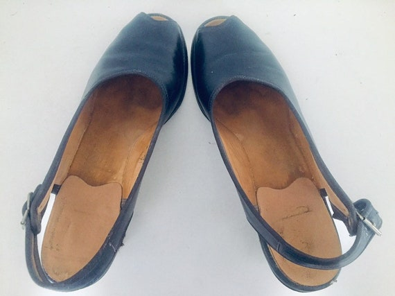 40s Shoes Blue Sandals Leather Slings Chunky Heel… - image 7