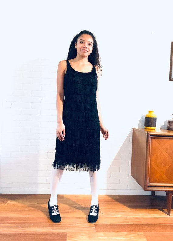 50s Black Fringe Sheath XS S