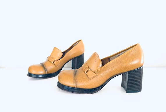 70s Platforms Leather Wood Heels made in Brazil by