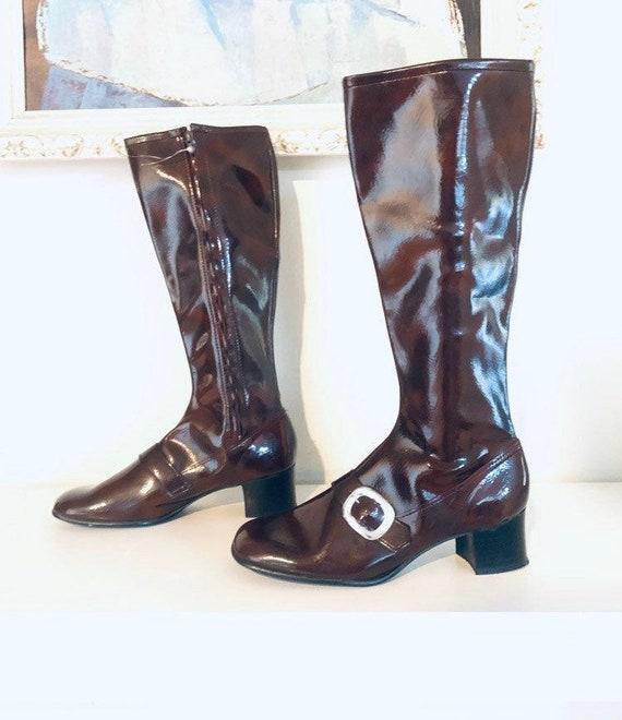 60s Brown Vinyl Go Go Boots Heels Size 8 38 39 mad