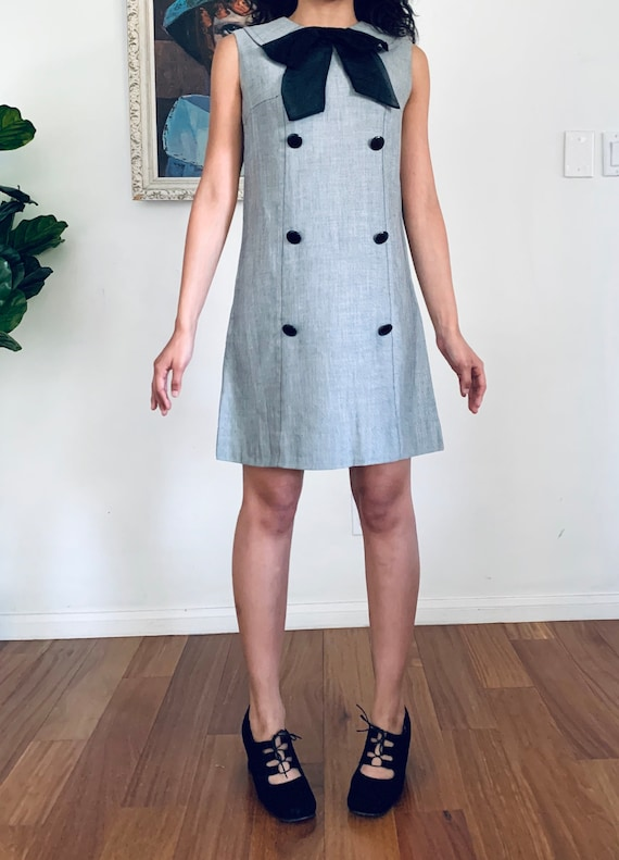 60s Mini Dress Gray Chambray by Carlette size S - image 4