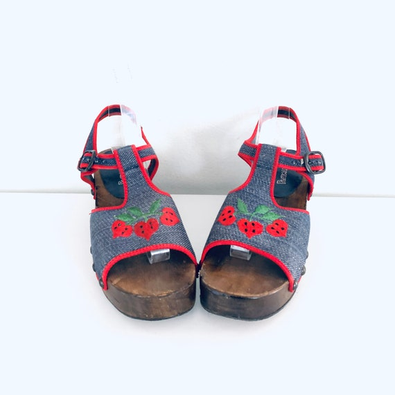 70s Platform Clog Sandals Denim Strawberries by P… - image 5