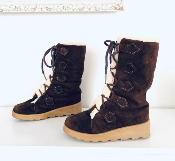 60s Lace Up Boots Winter Boots Sherpa Lined by Sno