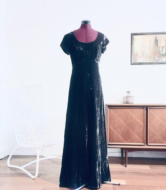 70s Gray Crushed Velvet Maxi Dress