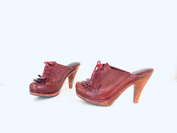 70s Platform Clogs Heels Leather Closed Toe Mules