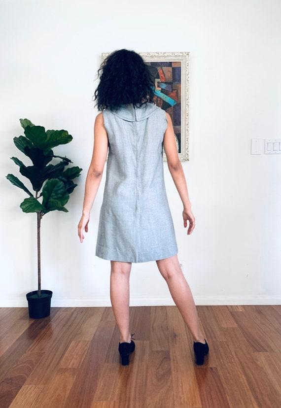 60s Mini Dress Gray Chambray by Carlette size S - image 8