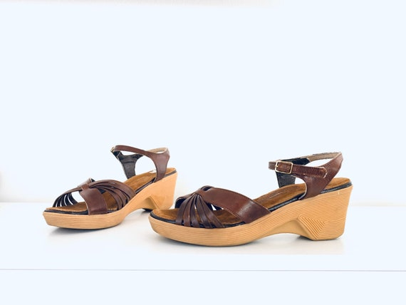 70s Leather Sandals Ankle Strap Platform Wedge Hee