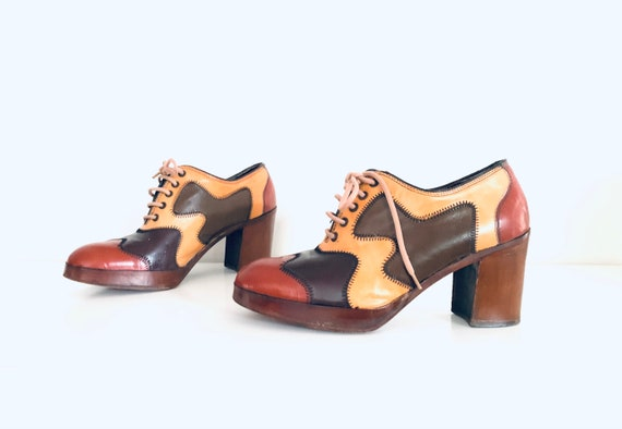 70s Platform Shoes Patchwork Colorblock Heels size