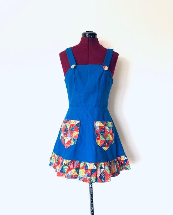 60s Babydoll Dress Patchwork Calico Mini Dress Blo