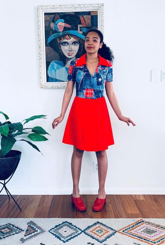 70s Mini Dress Red Patchwork Bandana Print size XS