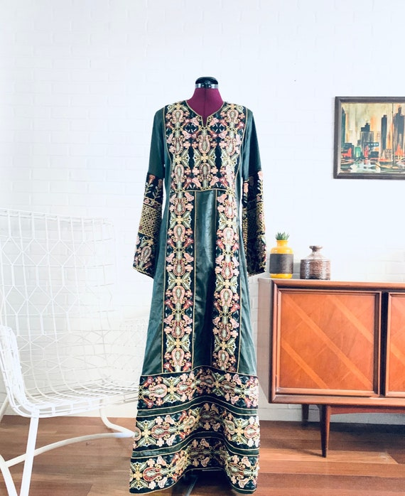 60s Green Silk Kaftan Embroidered Beaded Maxi Dres