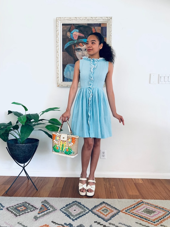 60s Mini Dress Blue Gingham XS