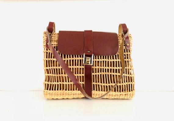 70s Wicker Purse Shoulder Bag Oxblood Leather Bag