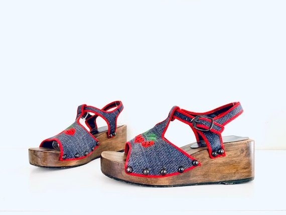 70s Platform Clog Sandals Denim Strawberries by P… - image 1