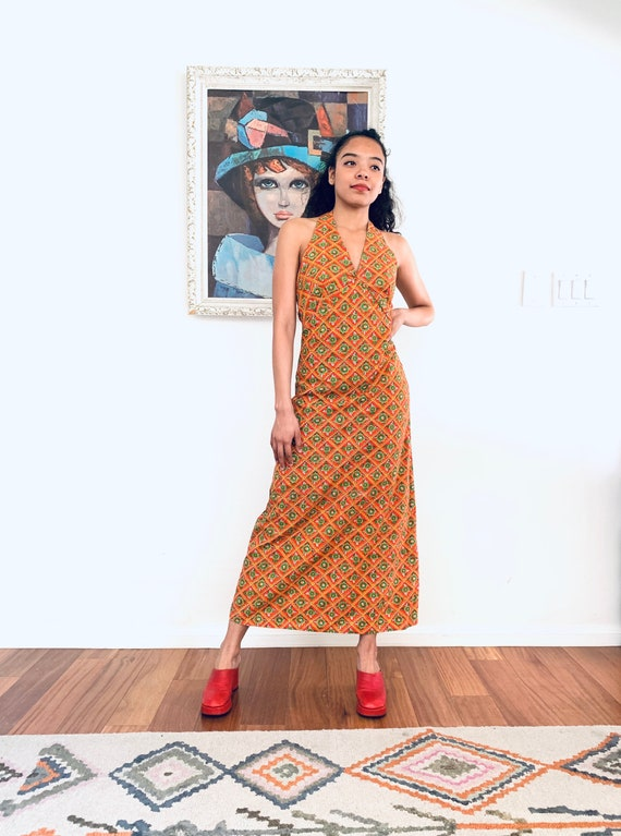 60s Maxi Dress Flower Child Dress Psychedelic Dres