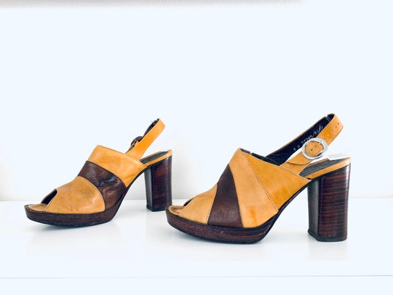 70s Platforms Colorblock  Leather Heels 8 M 38 39