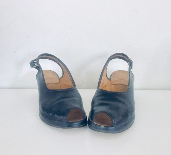 40s Shoes Blue Sandals Leather Slings Chunky Heel… - image 6