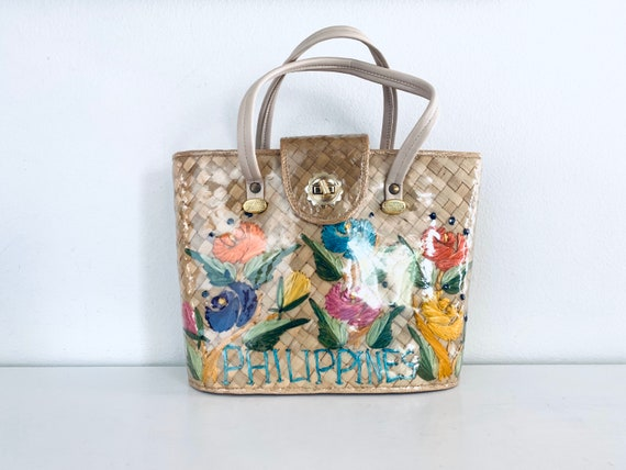 60s Wicker Bag Colorful Raffia Flowers made in the