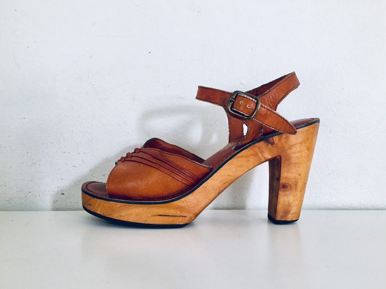 7cf4feac3 70s Platform Clog Sandals Wood Heels Ankle Straps Wooden Shoes