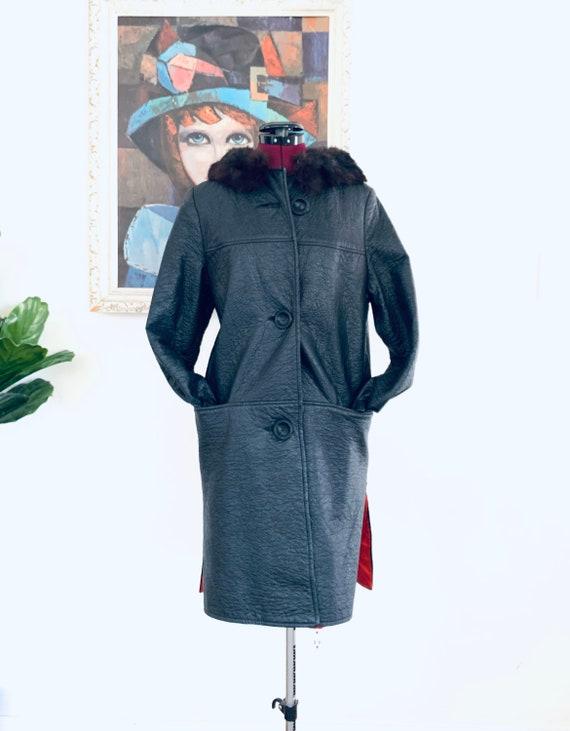 60s Black Vinyl Coat fur Collar Big Buttons Union