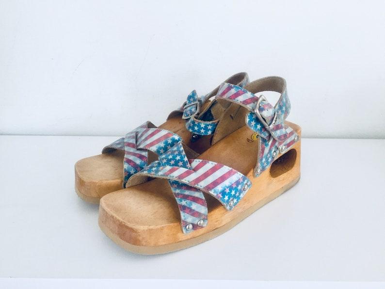 7272b30efa2b Clog Platform Sandals Wedge Wood Sandals Cut Out Heels Leather