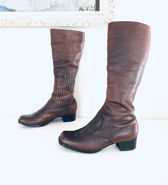 60s Boots Leather Knee High Boots Chunky Heel size