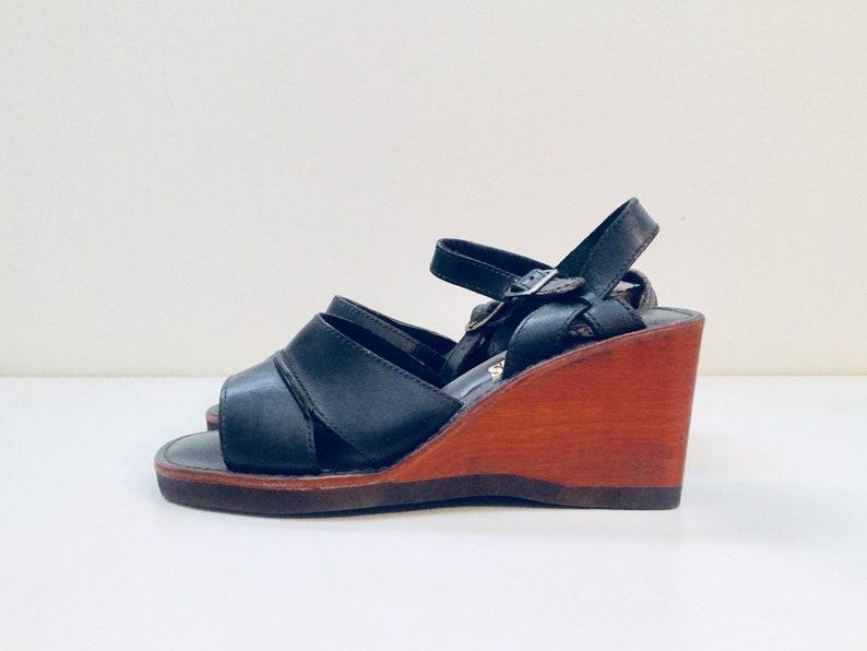 2d010eb2b725 70s Clog Platform Sandals Wedge Wood Sandals Leather Size 7.5