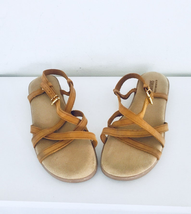 938adf7f71756 Tan Leather Sandals Flats Leather Ankle Strap Rubber Sole 10 M 41 42 by  Sunjuns Bass