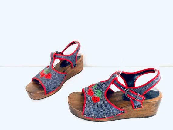 70s Platform Clog Sandals Denim Strawberries by P… - image 3