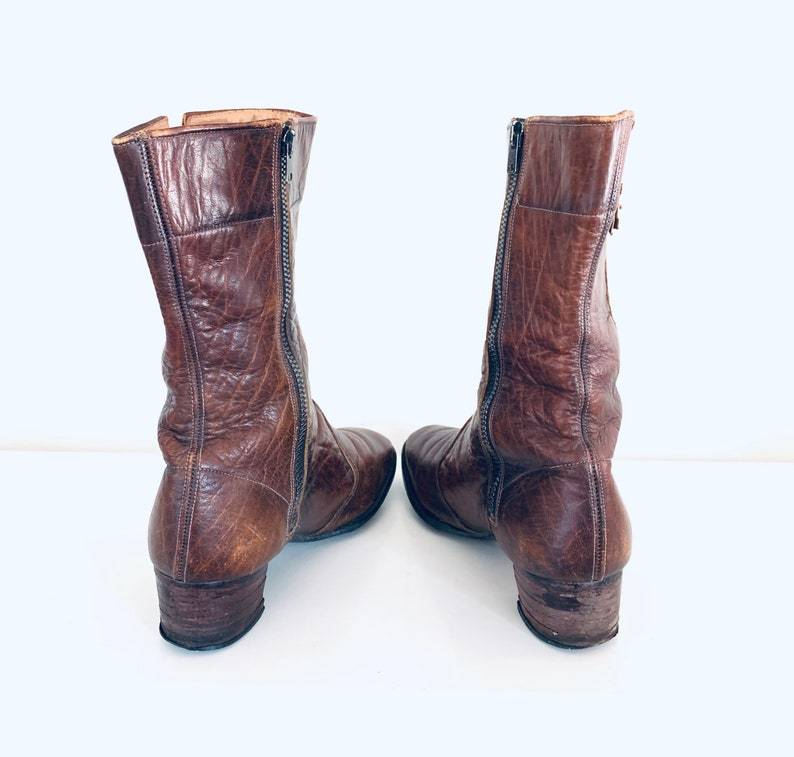 60s Leather Ankle Boots made in England by Brevitt size 8.5 8 12 38.5 39