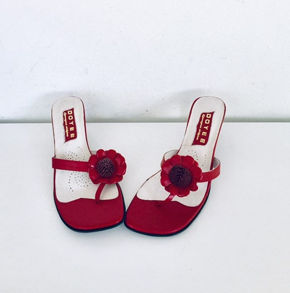 90s Red Leather Sandals Slides Heels Size 8 38 39 UNUSED