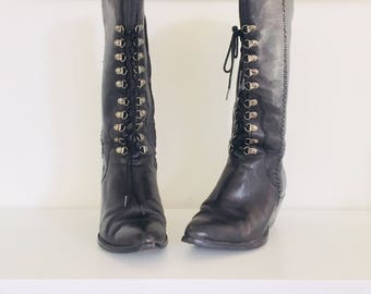 90s Lace Up Boots Black Leather Boots by Zodiac Size by mod goth steampunk Size 7.5 37 38
