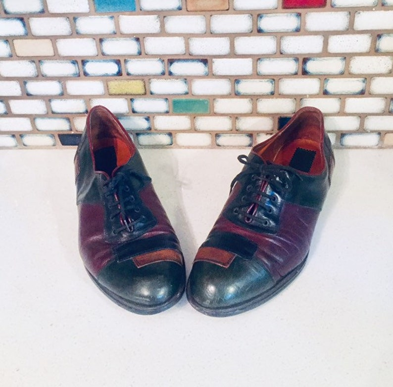 90s Patchwork Leather Lace Up Flats Shoes Size 8 M 39 made in Italy by Roberto Masini