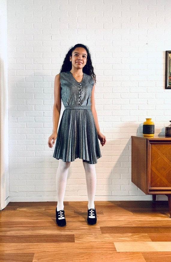 60s Silver Mini Dress Accordion Skirt Designer S M