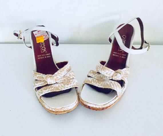 98a1aeafc8a8 70s Platform Wedge Jute Sandals Espadrilles Ankle Strap 10 M
